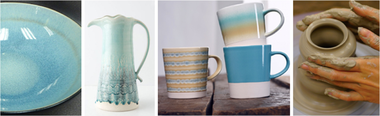 Images from Left Aqua Reactive by Stoneage | Old Havana Pitcher by Anthropologie | Fuse Mugs by Stoneage | Istock Photo & Ceramic Tableware Blog with 3 Key Trends